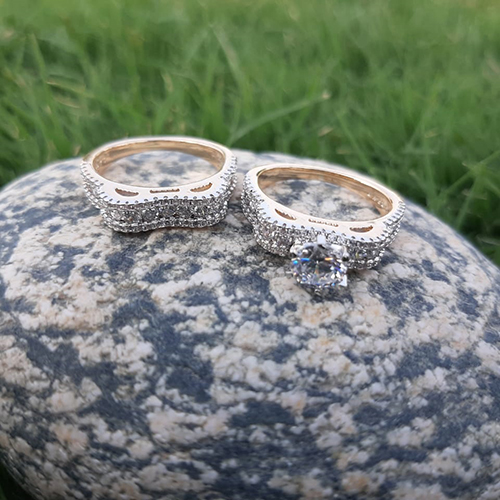 Gold Plated Crystal Pair Rings 3