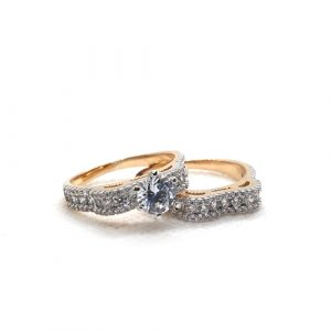 Gold Plated Crystal Pair Rings