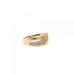 GoldPlated Curve Style Silver Stones Ring 2