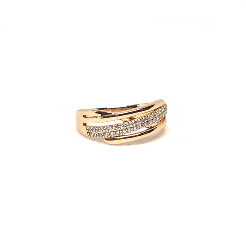GoldPlated Curve Style Silver Stones Ring 3