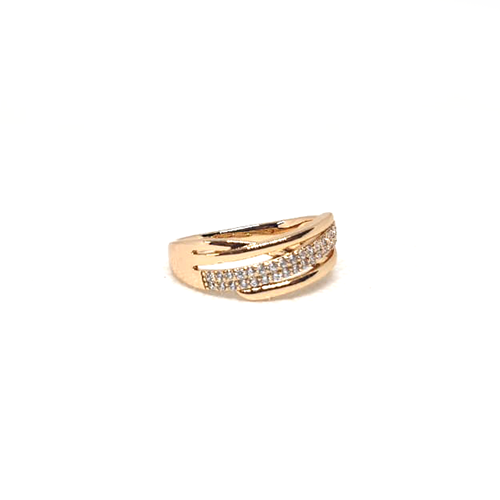 GoldPlated Curve Style Silver Stones Ring (999)