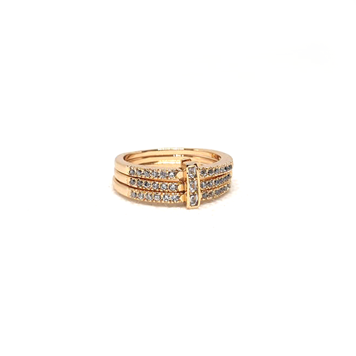 Goldplated 3 Lines Stones Ring 3