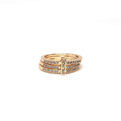 Goldplated 3 Lines Stones Ring