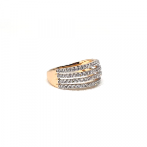 Goldplated 4 Lines  Stones Ring
