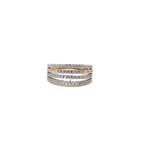Goldplated 4 Lines Stones Ring 5