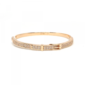 Goldplated Belt Style with Stones Bangle Bracelet