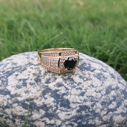 Goldplated Black Square with white Stones Ring For Men 2