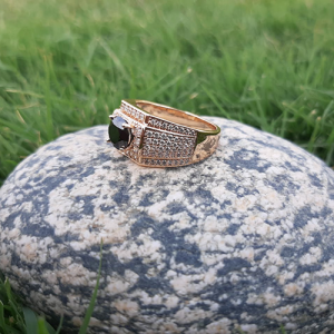 Goldplated Black Square with white Stones Ring For Men 3