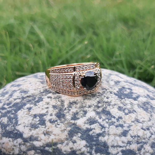 Goldplated Black Square with white Stones Ring For Men