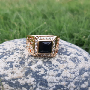 Goldplated Black Stone Square Style Ring For Men 2