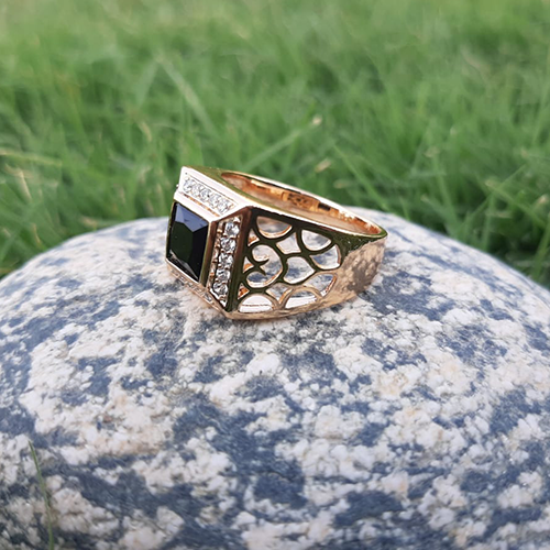 Goldplated Black Stone Square Style Ring For Men 3