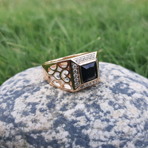 Goldplated Black Stone Square Style Ring For Men