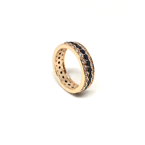 Goldplated Black Stones With Silver Stones Ring 1