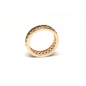 Goldplated Black Stones With Silver Stones Ring 2