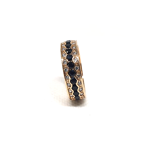 Goldplated Black Stones With Silver Stones Ring 3
