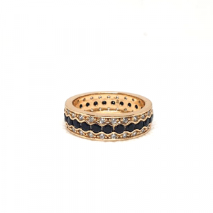 Goldplated Black Stones With Silver Stones Ring