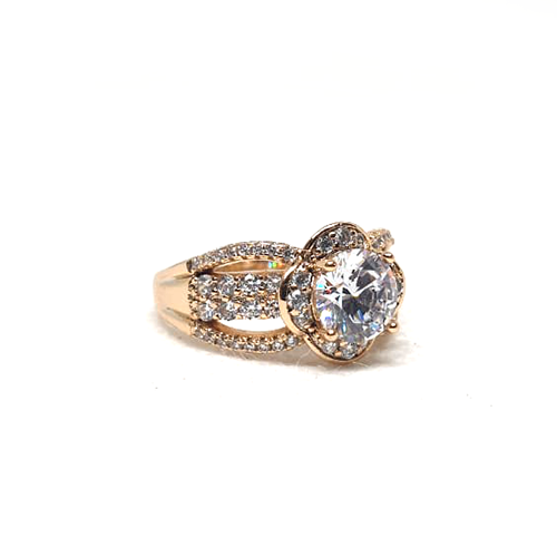 Goldplated Crystal Big Silver Stones Ring