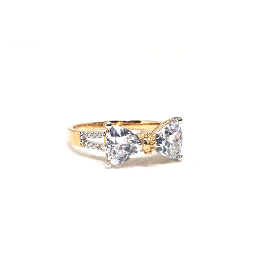 Goldplated Crystal Bow Style Ring (2) (1100)
