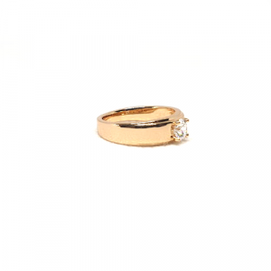 Goldplated Crystal  Single Stone Goldplated Ring For Men And Women