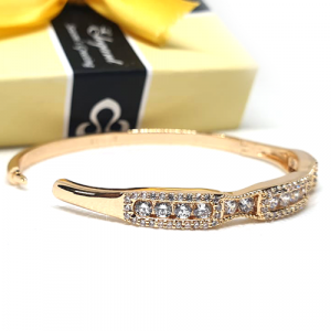 Goldplated Crystal Zircons Stylish Bangle Bracelet