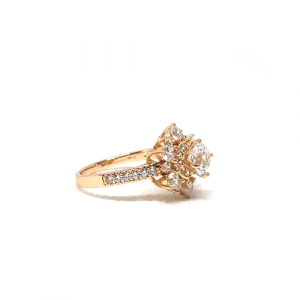 Goldplated Floral Style Silver Stones Ring 3