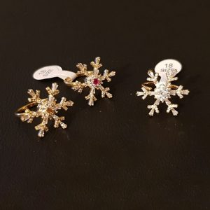 Goldplated Flower Crystal Stones Roundable Ring 1350