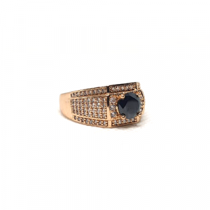 Goldplated Mens Black with White Stones Ring 2