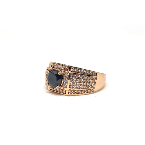 Goldplated Mens Black with White Stones Ring 3