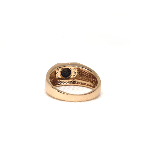 Goldplated Mens Black with White Stones Ring 4