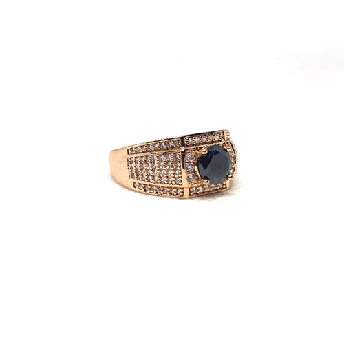 Goldplated Mens Black with White Stones Ring