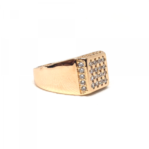 Goldplated Silver Stones Men Square Style Ring