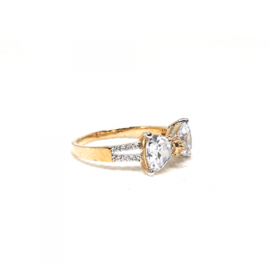 Goldplated Crystal Bow Style Ring