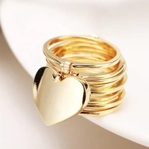 Retractable Rings With Hand Chain Magic Golden Dual Use For Women
