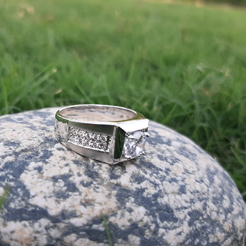 Silver Plated Crystal Ring For Men 2