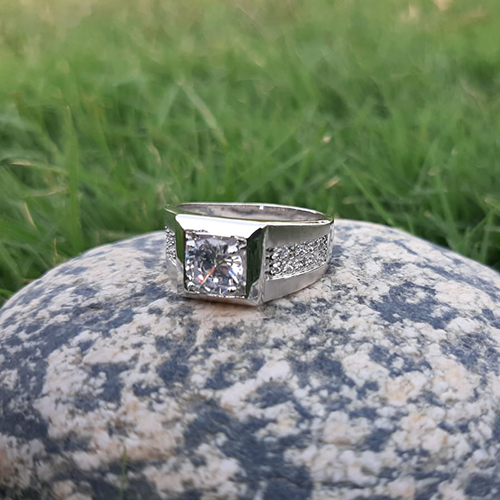 Silver Plated Crystal Ring For Men 3