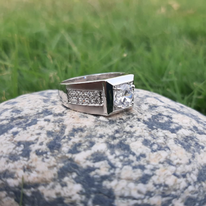 Silver Plated Crystal Ring For Men