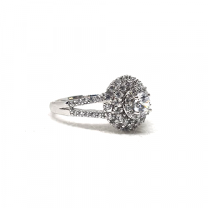 Silver Plated Crystal Stones Ring For Women 2