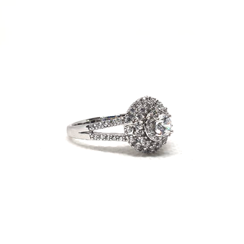 Silver Plated Crystal Stones Ring For Women