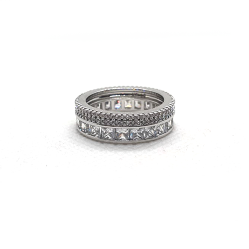 Silver Plated Round Ring with Crystal Stones 2(1450)