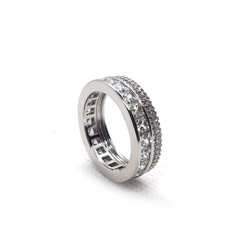 Silver Plated Round Ring with Crystal Stones