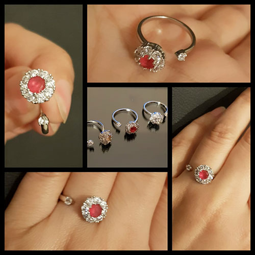 Silver plated Roundable Crystal Stone Ring