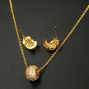 Sparkling Zirconia Gold Plated Pendant Set