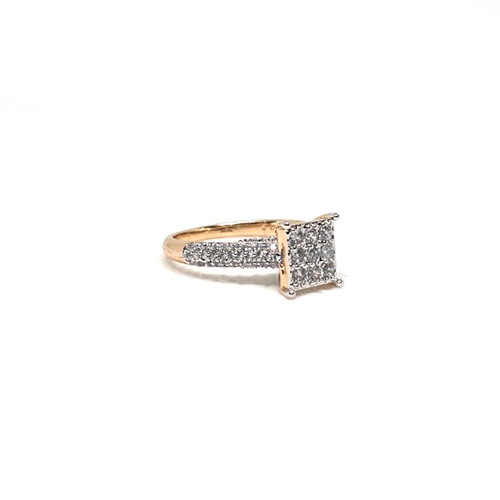 Square Zircons Style Ring Goldplated 2
