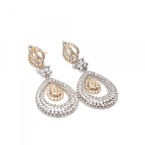 Stunning 2 Tone Zircons Earrings