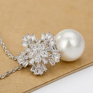 Stunning Pearl Crystal Pendant Necklace Chain