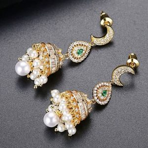 Stunning Pearl Jhumki Earrings with Green and Silver Stones (2)