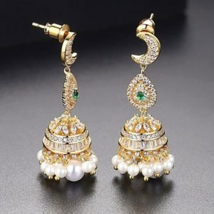 Stunning Pearl Jhumki Earrings with Green and Silver Stones