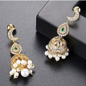 Stunning Pearl Jhumki Earrings with Green and Silver Stones 4
