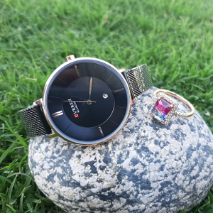 Stunning Women Black Watch with Multi Crystal Ring 3