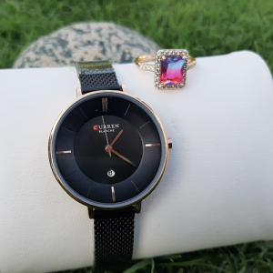 Stunning Women Black Watch with Multi Crystal Ring